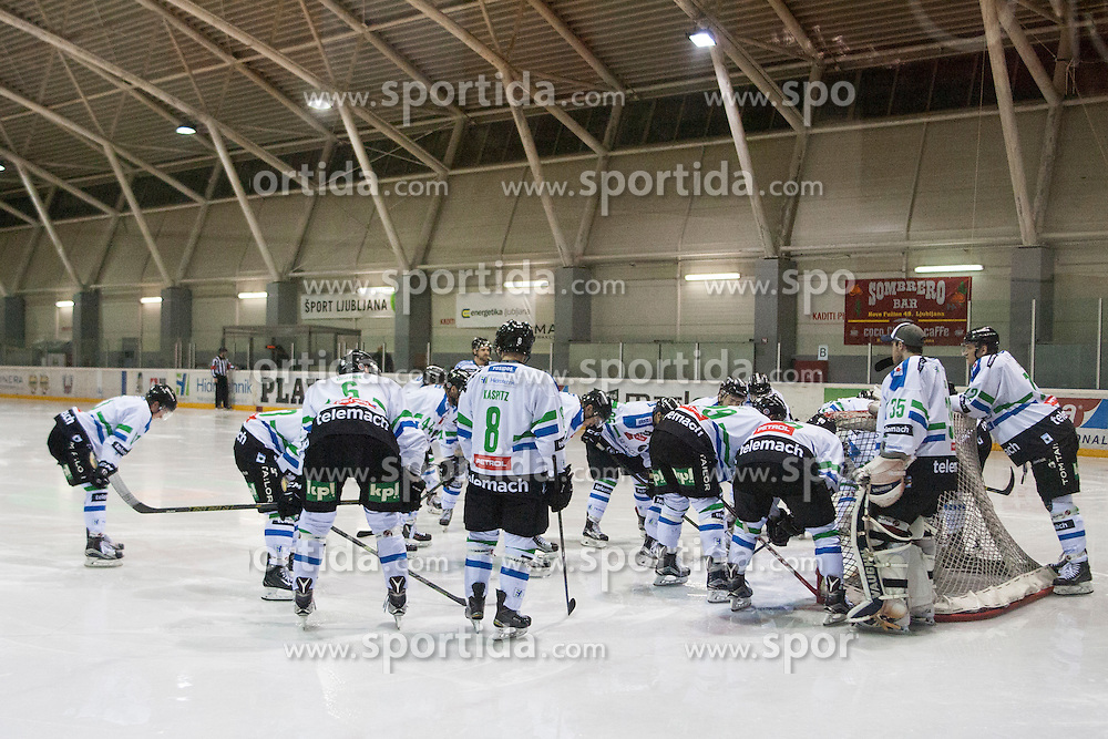 Players of HDD Telemach Olimpija during ice hockey match between HK Playboy Slavija and HDD Telemach Olimpija in semi-final of Slovenian Cup, on November 10, 2015  in Ledena Dvorana Zalog, Ljubljana, Slovenia. Photo by Urban Urbanc / Sportida