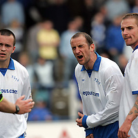 Queen of the South v St Johnstone.....15.04.06<br />St Johnstone players Paul Sheerin (centre), Steven Milne and Ryan Stevenson vent their anger at ref Ian Frickleton.<br />Picture by Graeme Hart.<br />Copyright Perthshire Picture Agency<br />Tel: 01738 623350  Mobile: 07990 594431