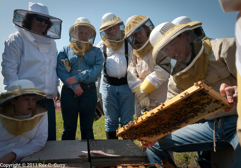 Blake Shook shows students in he and John Talbert's beekeeping class a frame of honey bees at his Sabine Creek Honey Farm in Royce City on May 7, 2011....