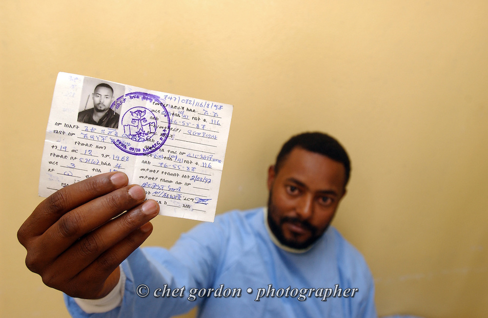 Ethiopian medical volunteer displays his identity card in the Black Lion Hospital in Addis Ababa, Ethiopia on December 6, 2005.