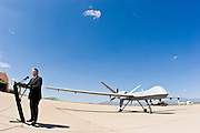 29 SEPTEMBER 2005 - SIERRA VISTA, AZ: Roll out the Predator, an Unmanned Aerial Vehicle used by the Border Patrol for surveillance along the Arizona stretch of the US/Mexico border. The aircraft are flown along the US Mexico border by US Border Patrol agents based in Texas and Arizona.  The U.S. Customs and Border Protection (CBP) agency flies thePredator drones at an altitude of 15,000 feet for policing immigration, drug smugglers and terrorists along the U.S.-Mexico border.    PHOTO BY JACK KURTZ