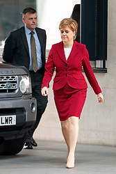 © Licensed to London News Pictures. 14/05/2017. London, UK. First Minister of Scotland and SNP leader NICOLA STURGEON arrives at BBC Broadcasting House in London to appear on The Andrew Marr show on BBC One on Sunday 14 May 2017. Photo credit: Tolga Akmen/LNP