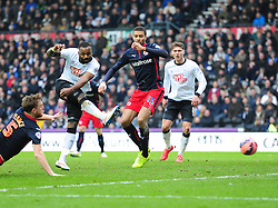 Derby County's Darren Bent forces a save from Reading's Adam Federici - Photo mandatory by-line: Alex James/JMP - Mobile: 07966 386802 - 14/02/2015 - SPORT - Football - Derby  - ipro stadium - Derby County v Reading - FA Cup - Fifth Round