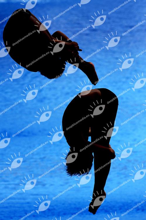 Niko Luthfi ABDILLAH and Andriyan ANDRIYAN Indonesia<br /> Men's 3m Synchro Springboard - Tuffi Trampolino 3m Synchro Uomini Preliminary<br /> Shanghai 19/7/2011 <br /> 14th FINA World Championships<br /> Foto Andrea Staccioli Insidefoto