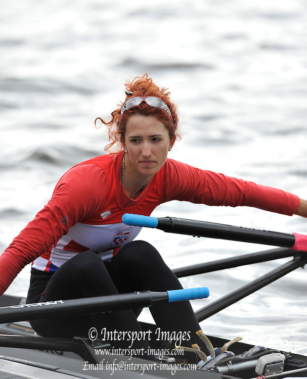 Essen, GERMANY.   CRO LW1X.  Marcela MILOSEVIV, prepares to push off from the dock for heat of the Women's Lightweight Single Sculls at the 97 International Hugelregatta, Baldeneysee, Saturday  11/05/2013   [Mandatory Credit. Peter Spurrier/Intersport Images]