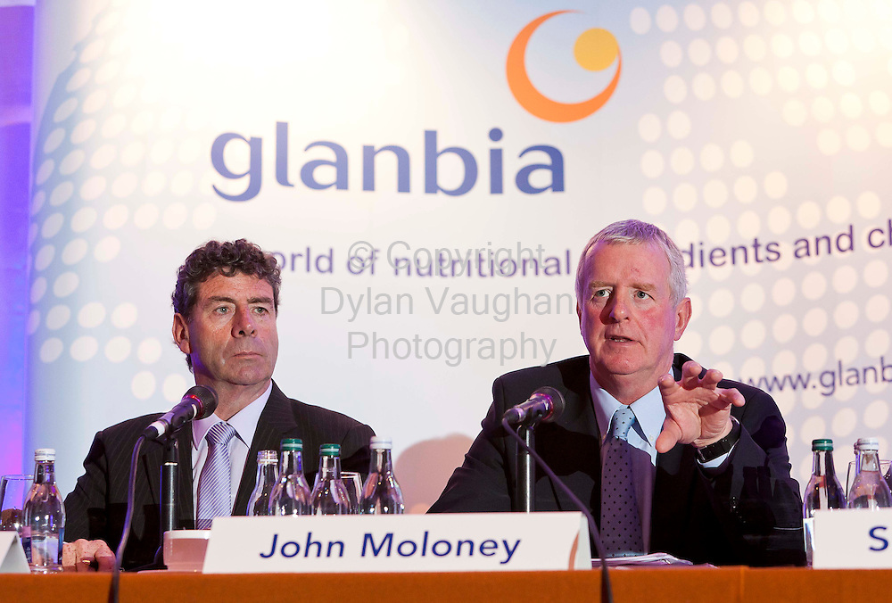 11/5/2011.From left Liam Herlihy Chairman, John Moloney Group Managing Director pictured at the Glanbia plc AGM at the Lyrath Estate Hotel in Kilkenny yesterday..Picture Dylan Vaughan.