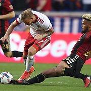 HARRISON, NEW JERSEY- OCTOBER 15: Anton Walkes #26 of Atlanta United tackles Daniel Royer #77 of New York Red Bulls during the New York Red Bulls Vs Atlanta United FC, MLS regular season match at Red Bull Arena, Harrison, New Jersey on October 15, 2017 in Harrison, New Jersey. (Photo by Tim Clayton/Corbis via Getty Images)
