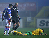 Carlisle - Saturday November 28th, 2009: Ian Harte of Carlisle United stands over Grant Holt during the FA Cup second round match at Brunton Park, Carlisle. (Pic by Andrew Stunell/Focus Images)..