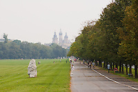 blonia Park with St Mary's Basilica behind in Krakow Poland