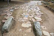 Roman paved road with granite speed bumps, Circa Romano hippodrome, Merida, Extremadura, Spain