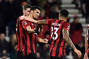Goal - Dominic Solanke (9) of AFC Bournemouth celebrates scores his first goal for the club to give a 4-0 lead during the The FA Cup match between Bournemouth and Luton Town at the Vitality Stadium, Bournemouth, England on 4 January 2020.