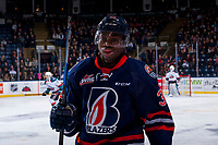 KELOWNA, CANADA - FEBRUARY 24: Jermaine Loewen #32 of the Kamloops Blazers skates to the bench against the Kelowna Rockets  on February 24, 2018 at Prospera Place in Kelowna, British Columbia, Canada.  (Photo by Marissa Baecker/Shoot the Breeze)  *** Local Caption ***