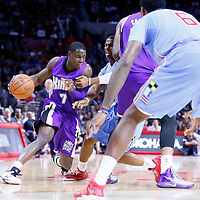 02 November 2014: Sacramento Kings guard Darren Collison (7) drives past Los Angeles Clippers guard Chris Paul (3) on a screen set by Sacramento Kings center DeMarcus Cousins (15) during the Sacramento Kings 98-92 victory over the Los Angeles Clippers, at the Staples Center, Los Angeles, California, USA.