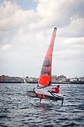 Brad Funk Sailing the Moth in Boston Harbor
