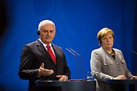 DEU, Deutschland, Germany, Berlin, 15.02.2018: Bundeskanzlerin Dr. Angela Merkel (CDU) und der  türkische Ministerpräsident Binali Yildirim bei einer Pressekonferenz im Bundeskanzleramt.