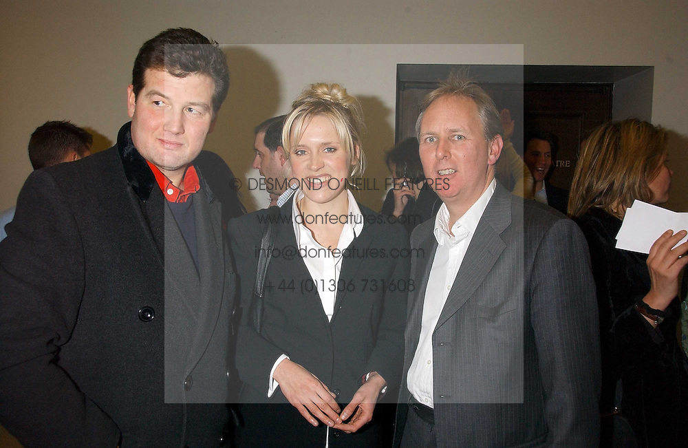 Left to right, TIM ACKROYD, actress BETH CORDINGLY and CHARLES MAYHEW at a concert by Charlotte Gordon Cumming in aid of Tusk held at the National Geographical Society, 1 Kensington Gore, London SW7 on 16th March 2006.<br />
