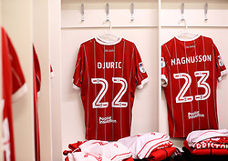 Bristol City changing room at Burton Albion with the shirts of Milan Djuric and Hordur Magnusson of Bristol City hung up - Mandatory by-line: Robbie Stephenson/JMP - 10/03/2018 - FOOTBALL - Pirelli Stadium - Burton upon Trent, England - Burton Albion v Bristol City - Sky Bet Championship