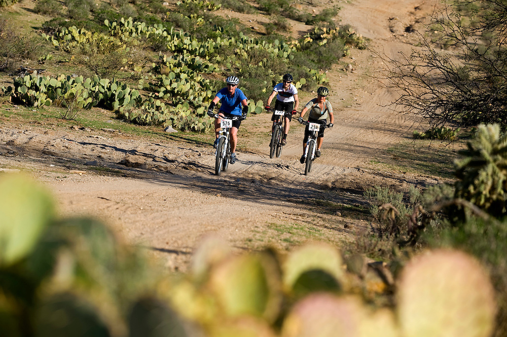 Riders bomb the a hill in a notorious section of trail called The Bitches 24 Hours in the Old Pueblo mountain bike race.
