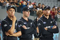 March 4, 2017 - Auckland, New Zealand - Trent Boult (L), Jimmy Neesham (M) and Martin Guptill (R) of New Zealand look dejected  after losing the final match of  One Day International series between New Zealand and South Africa at Eden Park on March 4, 2017 in Auckland, New Zealand (Credit Image: © Shirley Kwok/Pacific Press via ZUMA Wire)
