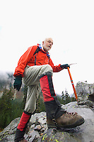 Man hiking on a rocky slope&#xA;<br />