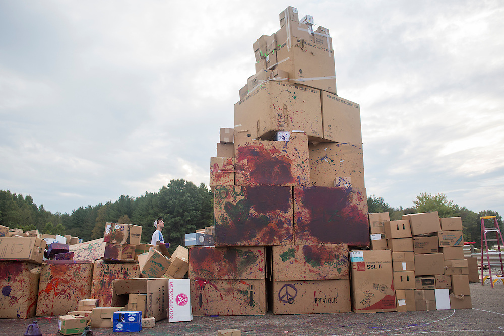 Volunteers worked on building Chateau de Cardboard, the world's largest cardboard castle, during the Pawpaw Festival on Sept. 17, 2016.