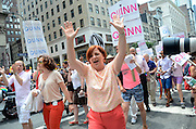 City Council president Christine Quinn greeting spectators at the annual Pride Parade along Fifth Avenue. Gay rights supporters had much to celebrate at this year's New York City Pride Parade, which came on the heels of the Supreme Court's decision to overturn DOMA (Defense of Marriage Act).  The ruling extends federal benefits to same-sex couples who are married in states that recognize gay marriage.