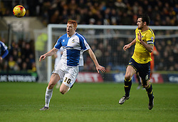 Rory Gaffney of Bristol Rovers under pressure from Jake Wright of Oxford United - Mandatory byline: Alex James/JMP - 17/01/2016 - FOOTBALL - The Kassam Stadium - Oxford, England - Oxford United v Bristol Rovers - Sky Bet League Two