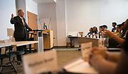 Ohio University President Duane Nellis talks with participants in the Junior Executives Business Program. Photo by Ben Siegel
