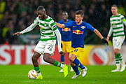 Odsonne Edouard (#22) of Celtic FC holds off Diego Demme (#31) of RB Leipzig during the Europa League group stage match between Celtic and RP Leipzig at Celtic Park, Glasgow, Scotland on 8 November 2018.