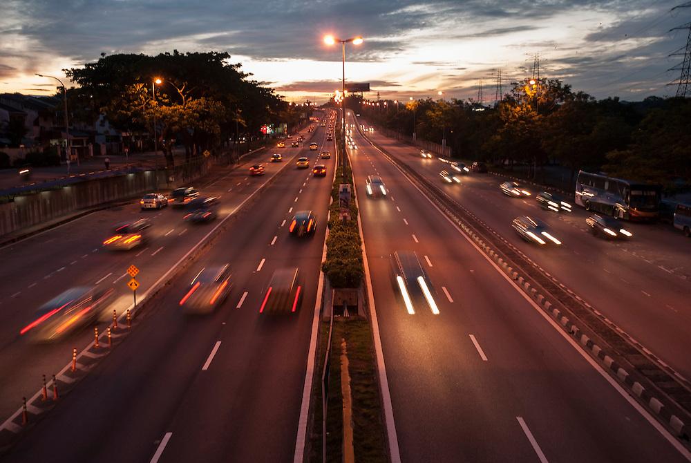 Morning rush hour at dawn in Kuala Lumpur, Malaysia