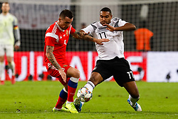 November 16, 2018 - Leipzig, Germany - Jonathan Tah (R) of Germany and Anton Zabolotny of Russia vie for the ball during the international friendly match between Germany and Russia on November 15, 2018 at Red Bull Arena in Leipzig, Germany. (Credit Image: © Mike Kireev/NurPhoto via ZUMA Press)