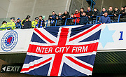 Rangers fans with Inter City Firm Union Jack flag during the Ladbrokes Scottish Premiership match between Rangers and Celtic at Ibrox, Glasgow, Scotland on 29 December 2018.
