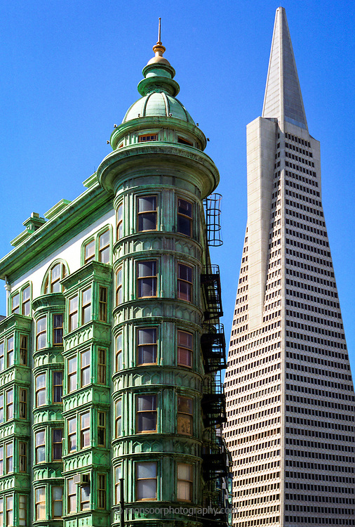 Architectural contrast in San Francisco,Ca.
