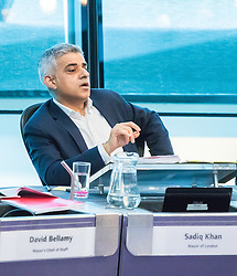 City Hall, London, February 20th 2017. The Mayor of London Sadiq Khan fields questions from the London Assembly during Mayor's Question Time, held ten times per year.