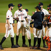 24 February 2018: The San Diego State Aztec baseball team competes in day two of the Tony Gwynn legacy tournament against #4 Arkansas. San Diego State Aztecs pitcher Ray Lambert (20) enters the game in the top of the sixth inning with the Aztecs trailing 2-1. The Aztecs dropped a close game to the Razorbacks 4-2. <br /> More game action at sdsuaztecphotos.com