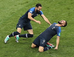 MOSCOW, July 15, 2018  France's Olivier Giroud (R) and Adil Rami celebrate victory after the 2018 FIFA World Cup final match between France and Croatia in Moscow, Russia, July 15, 2018. France defeated Croatia 4-2 and claimed the title. (Credit Image: © Xu Zijian/Xinhua via ZUMA Wire)