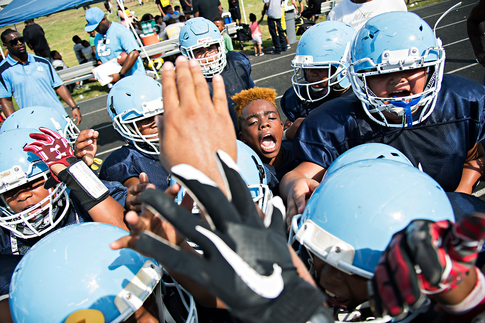 """Hungry! Humble! Hungry! Humble!"" goes the post-game cheer by Maxwell ""Bunchie"" Young, 10, and the rest of the Hub City TarHeels following their 31-0 win over the Cerritos Vypers."