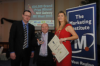 Colin Hanley , Your marketing Dept.  presenting Michael Loftus Westport Woods Hotel with his Marketing award and  Chariperson of the Marketing Institute Emma Dillon Leetch, Chariperson MII,  during the Marketing Institute of Ireland West Region's Annual Awards at a gala awards attended by over 160 people in the Radisson Blu Hotel, Galway .  Photo:Andrew Downes.