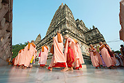 Buddhist prayers from Myanmar at Mahabodhi Temple of Bodh Gaya, India