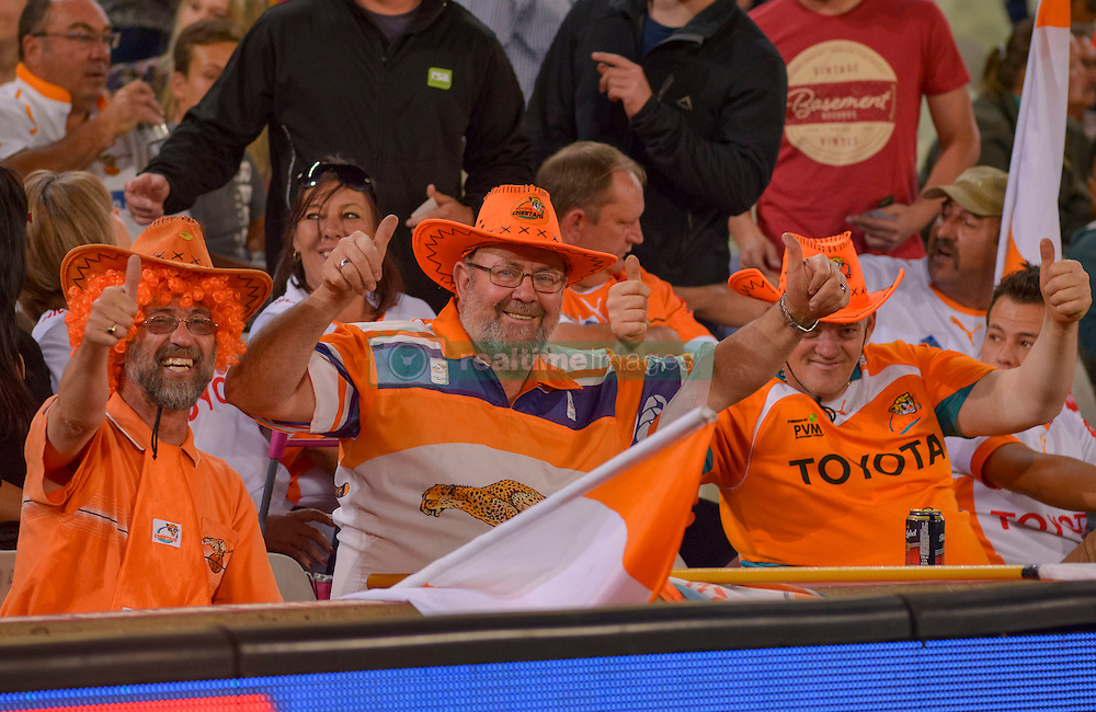 Cheetah Fans during the Currie Cup Premier division match between the The Free State Cheetahs and the Lions held at Toyota Stadium (Free State Stadium), Bloemfontein, South Africa on the 15th September 2016<br /> <br /> Photo by:   Frikkie Kapp / Real Time Images