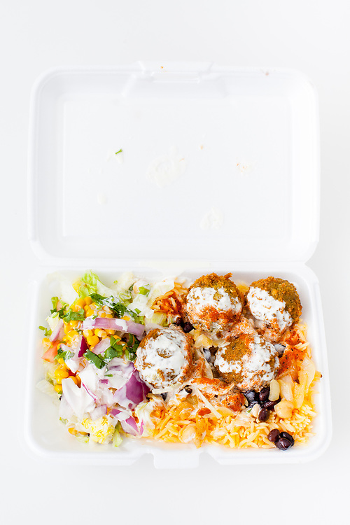 Falafel over rice from Rafiqi's ($4.75)