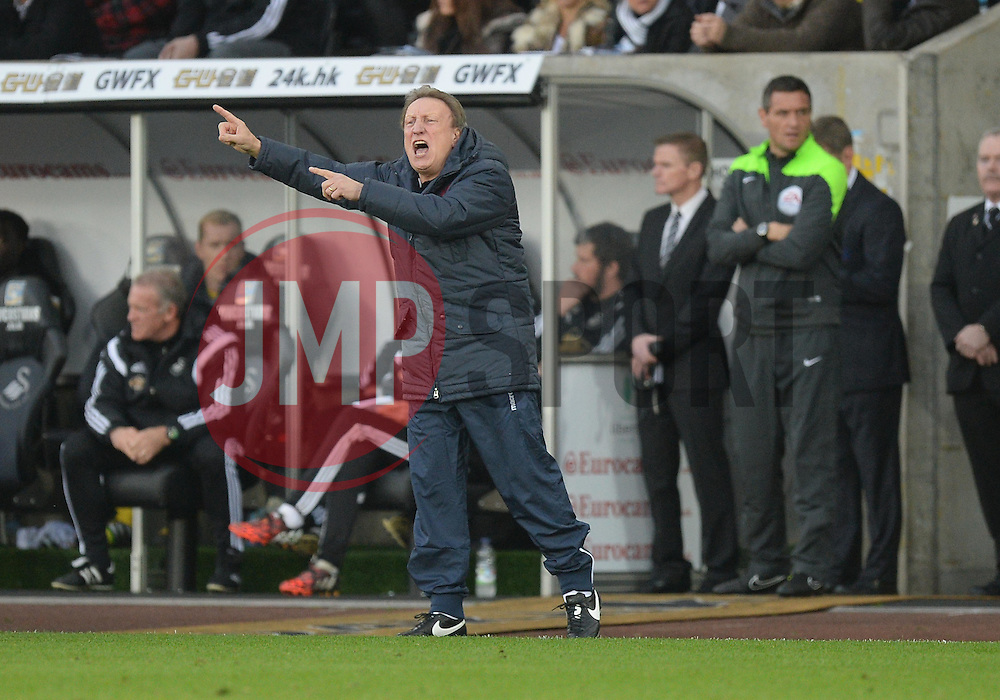Crystal Palace Manager, Neil Warnock gives his players directions.- Photo mandatory by-line: Alex James/JMP - Mobile: 07966 386802 - 29/11/2014 - Sport - Football - Swansea -  - Swansea v Crystal palace  - Barclays Premier League
