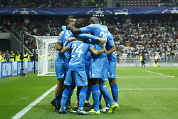 August 22, 2017 - Nice, France - Napoli players celebrating after the goal of 0-2 during the UEFA Champions League play-off football match between Nice and Napoli at the Allianz Riviera stadium in Nice, southeastern France, on August 22, 2017. (Credit Image: © Matteo Ciambelli/NurPhoto via ZUMA Press)