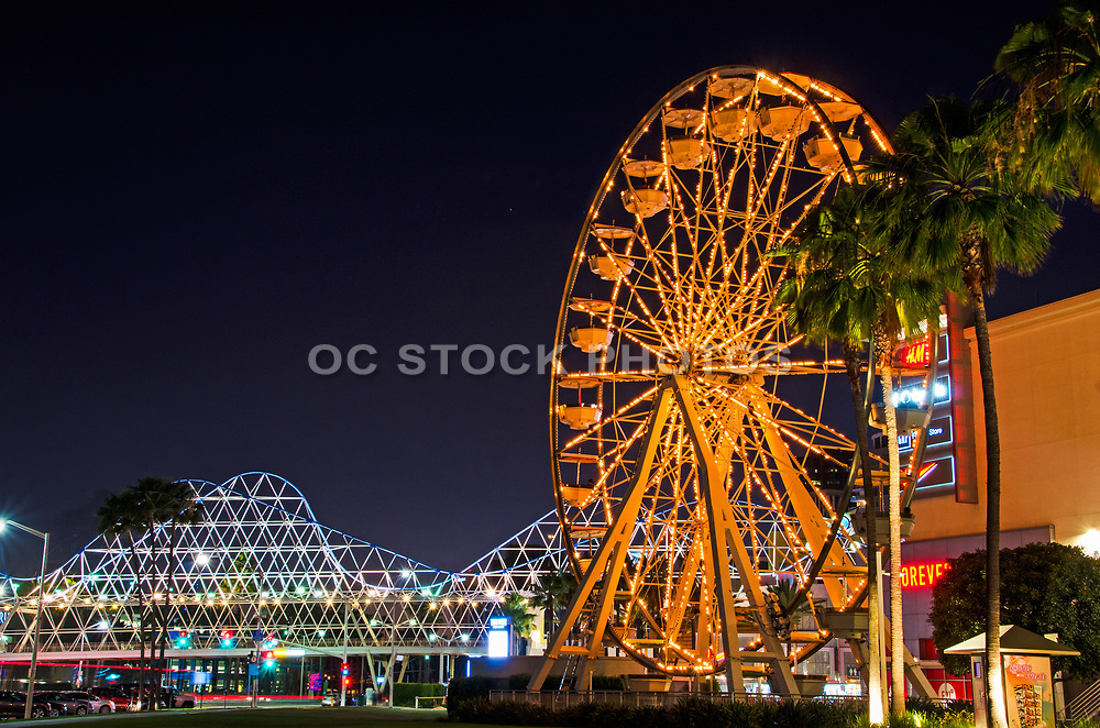 The Pike Ferris Wheel at Night Downtown Long Beach