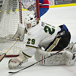 COBOURG, ON - Dec 10 : Ontario Junior Hockey League Game Action between Cobourg Cougar's Hockey Club & Kingston Voyageur's Hockey Club, during second period game action Nathan Perry #29 of the Cobourg Cougars protects the crease.(Photo by Dave Powers / OJHL Images)