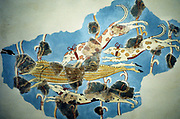 Fresco of hunting scene of dogs chasing deer (partially restored) from Tiryns (Tirins), Greece. Homeric period.