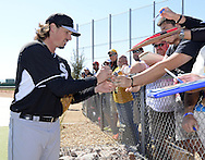GLENDALE, AZ - FEBRUARY 24:  Jeff Samardjiza #29 of the Chicago White Sox signs autographs after spring training workouts on February 24, 2015 at The Ballpark at Camelback Ranch in Glendale, Arizona. (Photo by Ron Vesely)   Subject:   Jeff Samardzija
