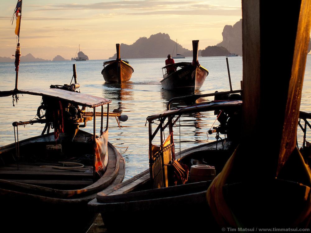 Longtail boats moored at Tonsai Beach, Thailand.