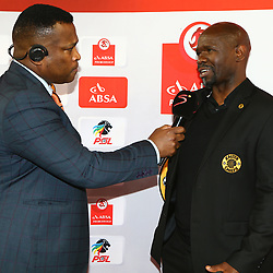 DURBAN, SOUTH AFRICA - SEPTEMBER 30:  Robert Marawa with Steve Komphela (Head Coach) of Kaizer Chiefs during the Absa Premiership match between Kaizer Chiefs and Baroka FC at Moses Mabhida Stadium on September 30, 2017 in Durban, South Africa. (Photo by Steve Haag/Gallo Images)