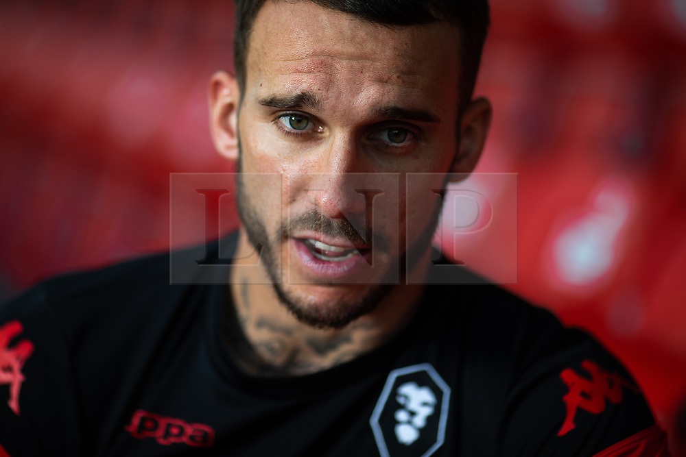 © Licensed to London News Pictures . 29/07/2019. Salford , UK . Team captain LIAM HOGAN in a stand . Salford Football Club hold a pre-season photocall at the Peninsula Stadium , Moor Lane . Photo credit : Joel Goodman/LNP